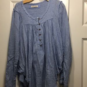 Free people flowy quarter button top